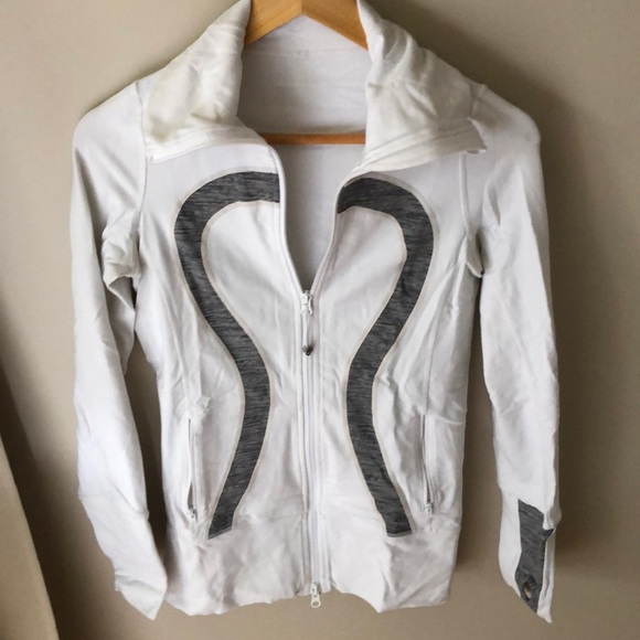 Lululemon white and grey in stride zip up  jacket
